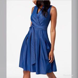 NWT Anne Klein Notch Collar Faux Wrap Dress AK159